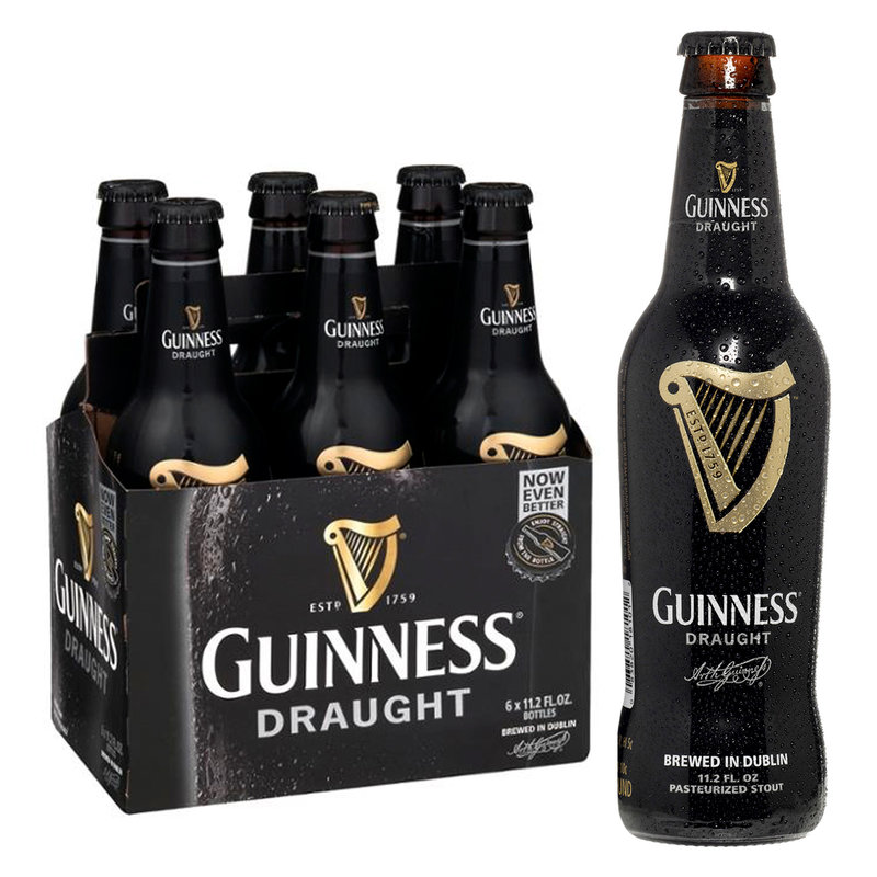 6-Pack of Guinness Draught beer next to a single bottle