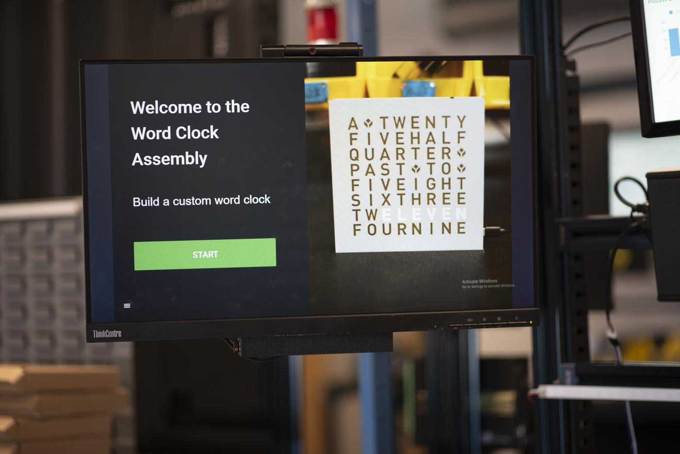 word clock assembly app running on an assembly station bench