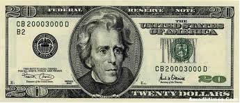 Descrição: Nota americana de vinte dólares