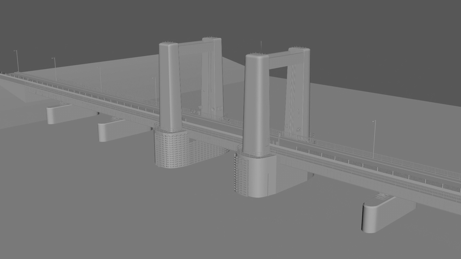 Proxy CG model of the bridge in ITV's Too Close that had been generated in pre-production for use in shot planning.