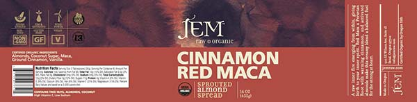 Label, JEM Raw Organic CINNAMON RED MACA Sprouted Almond Spread, 16 oz.