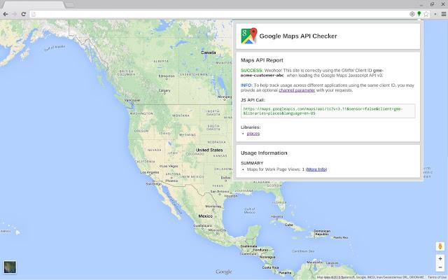 Google Maps API Checker chrome extension