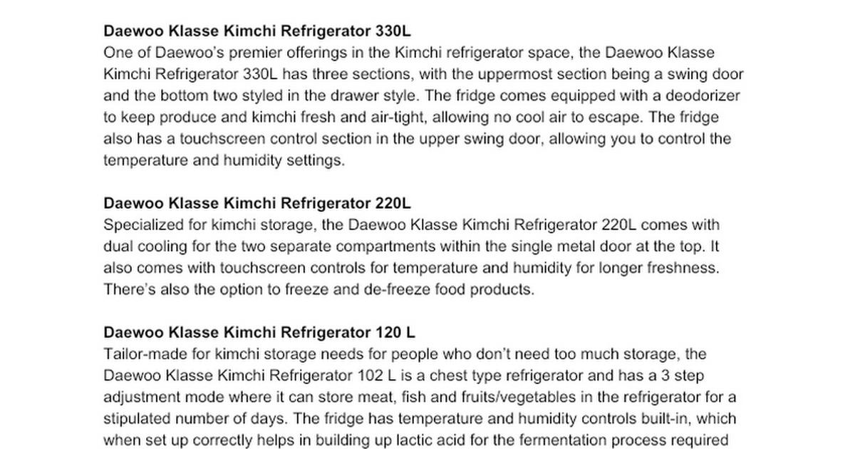 (Product Descriptions) Kimchi Refrigerators