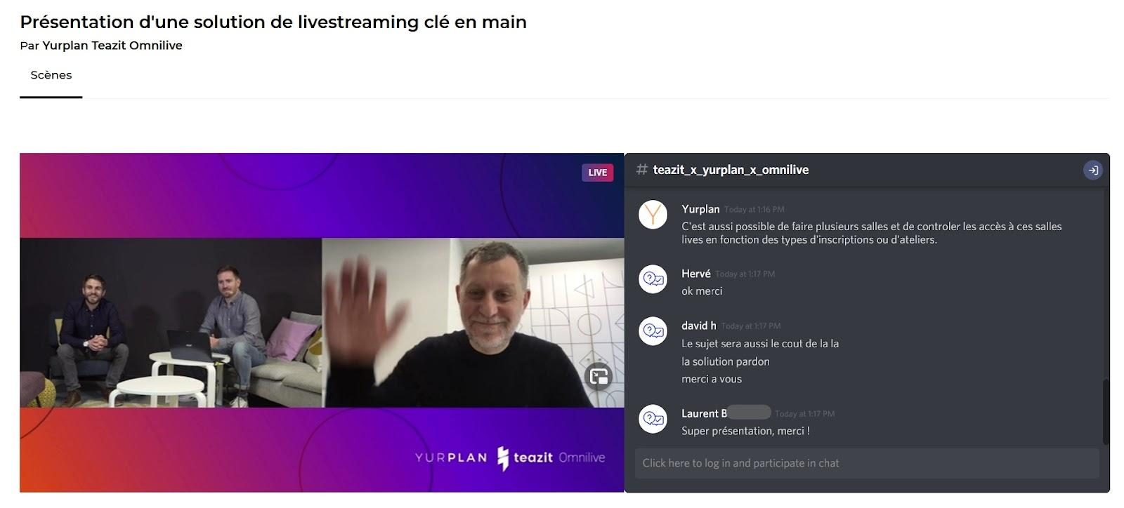 capture d'écran lors du webinaire de présentation de Yurplan Teazit et Omnilive.