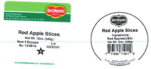 Label, Del Monte Red Apple Slices, 12 oz