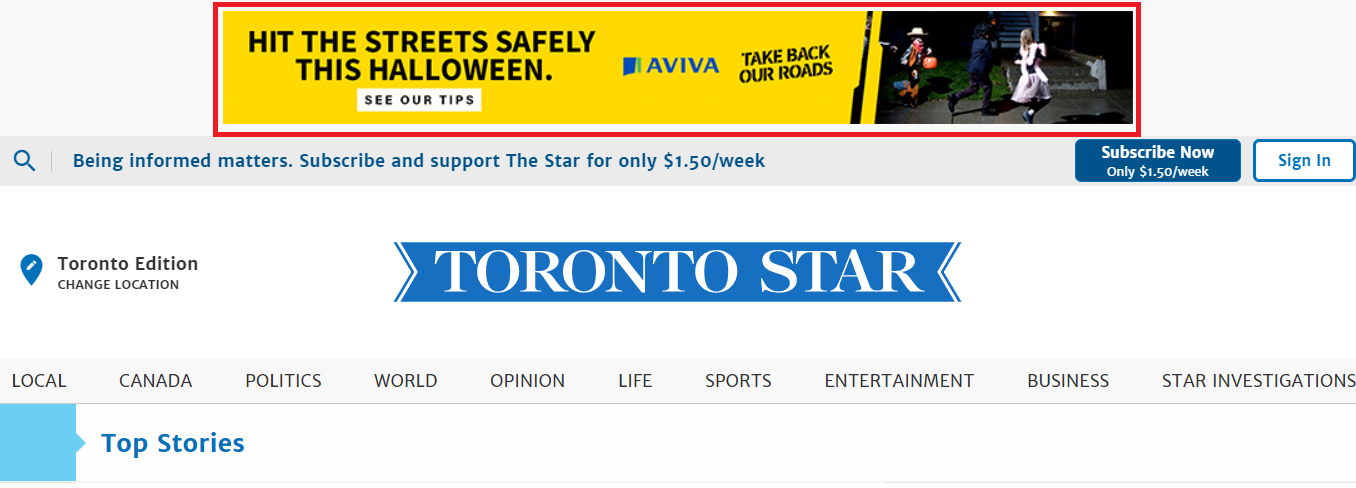 Aviva Insurance banner ad at the top of the screen on Toronto Star website.