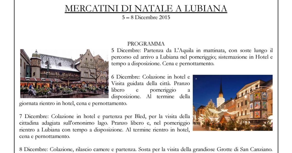 Mercatini di Natale - Lubiana pdf - Google Drive