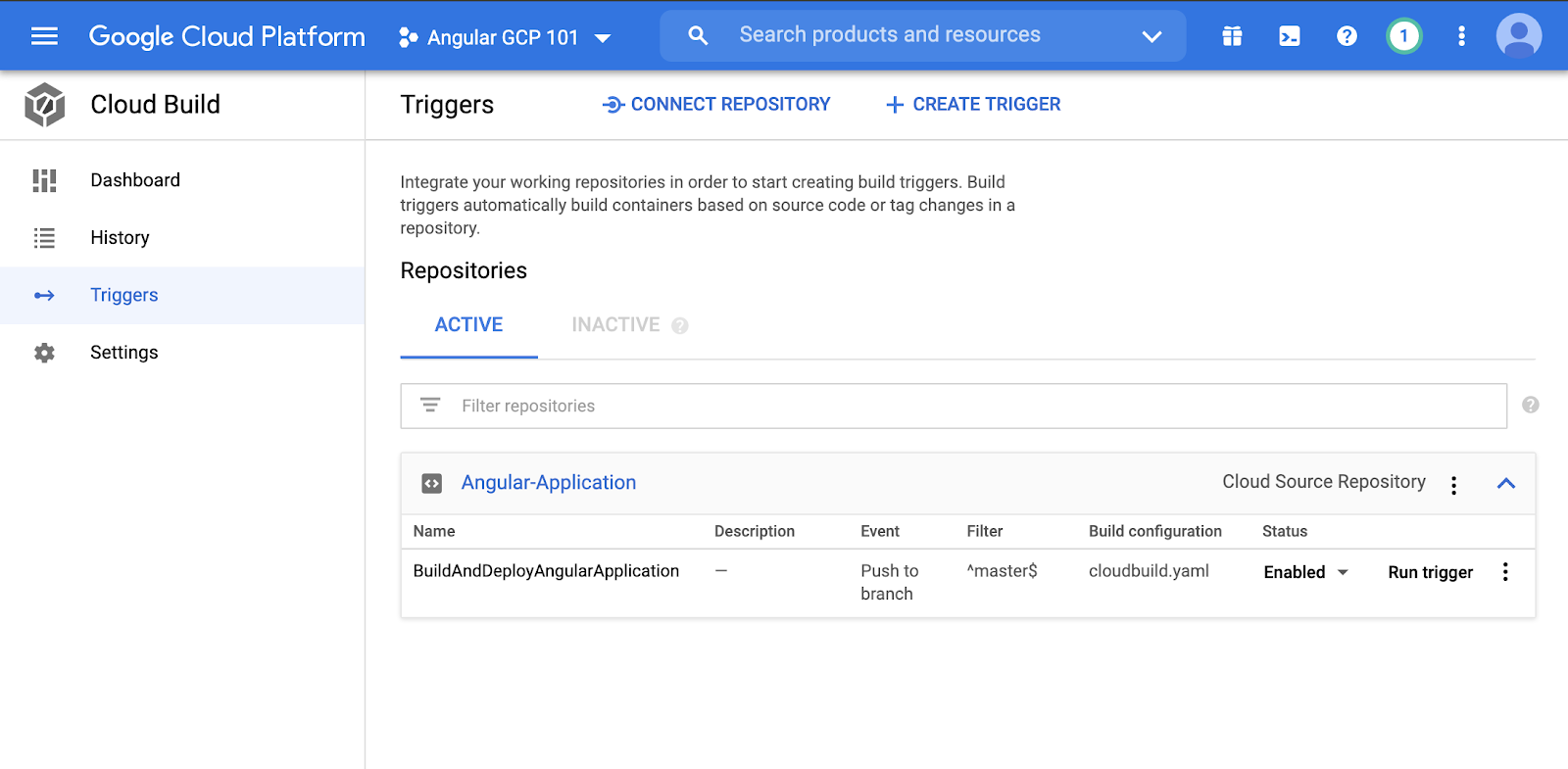 Creating a build trigger on gcp