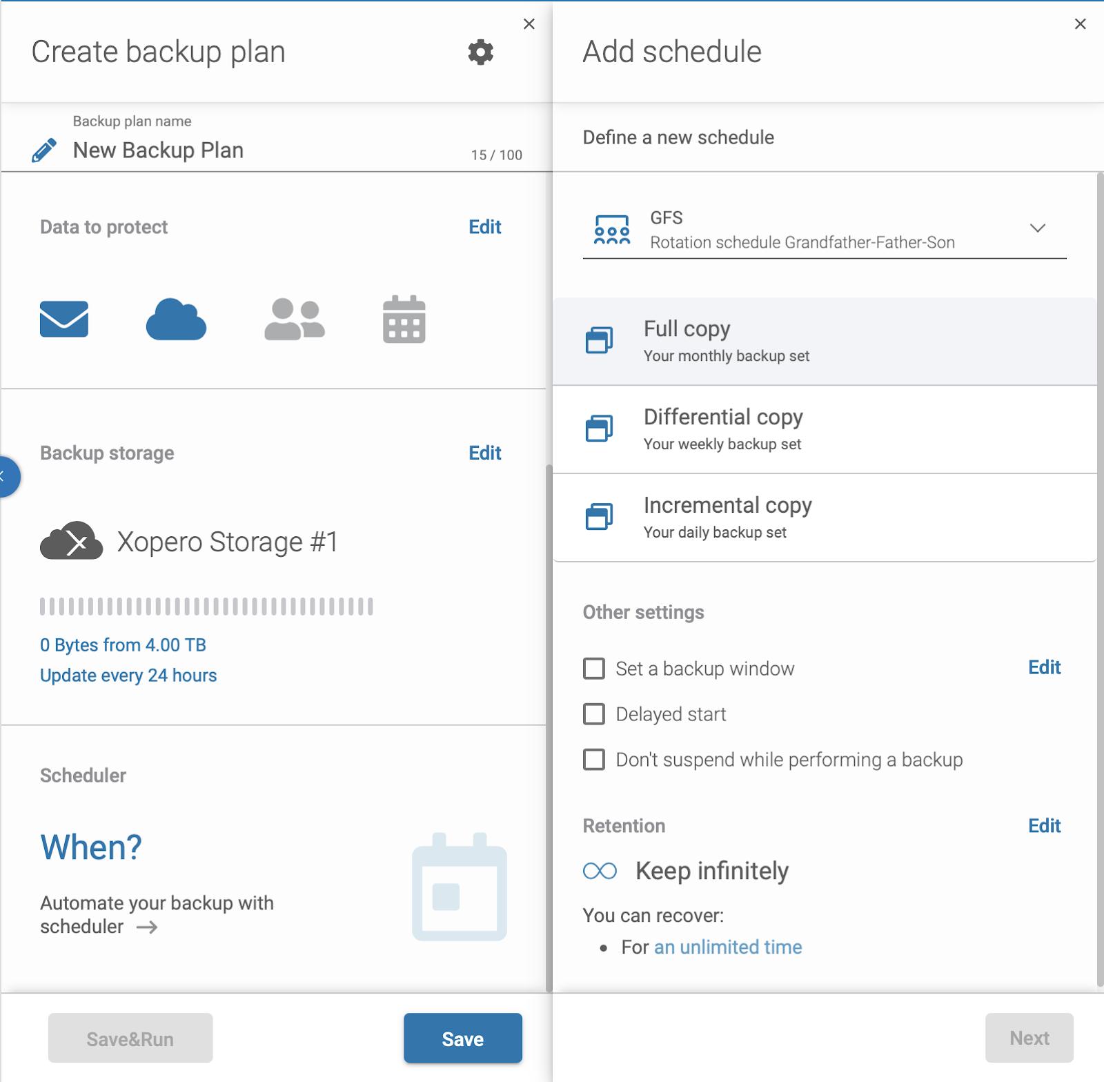 Microsoft 365 backup plan - schedule settings