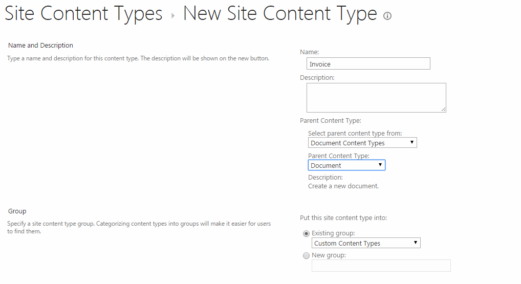 Create New Site Content Type - Create Site Columns