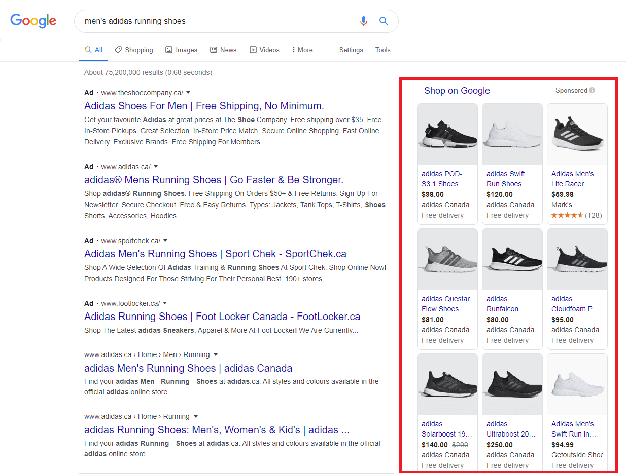 Google Shopping Ad for  men's Adidas running shoes.