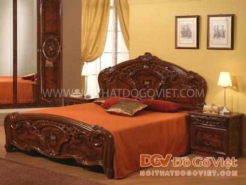 Giường gỗ cẩm lai cổ điển châu Âu đẹp, sang trọng, giá tốt