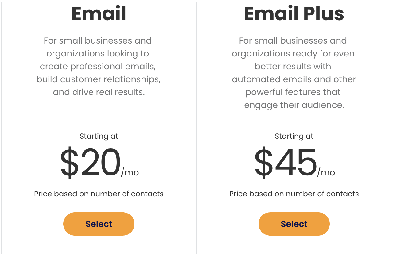 constant contact pricing differences