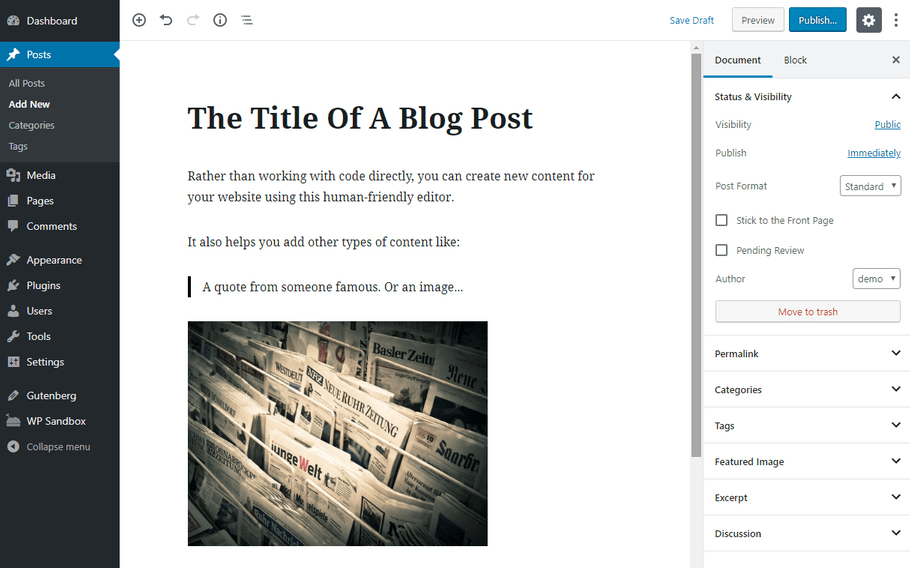 Trình soạn thảo WordPress