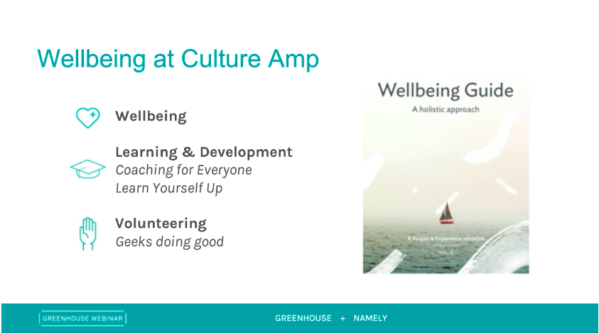 Wellbeing at Culture Amp slide
