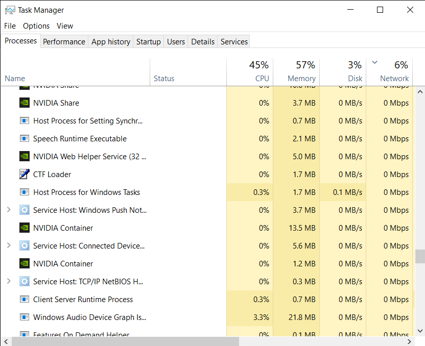 Processes in Task Manager