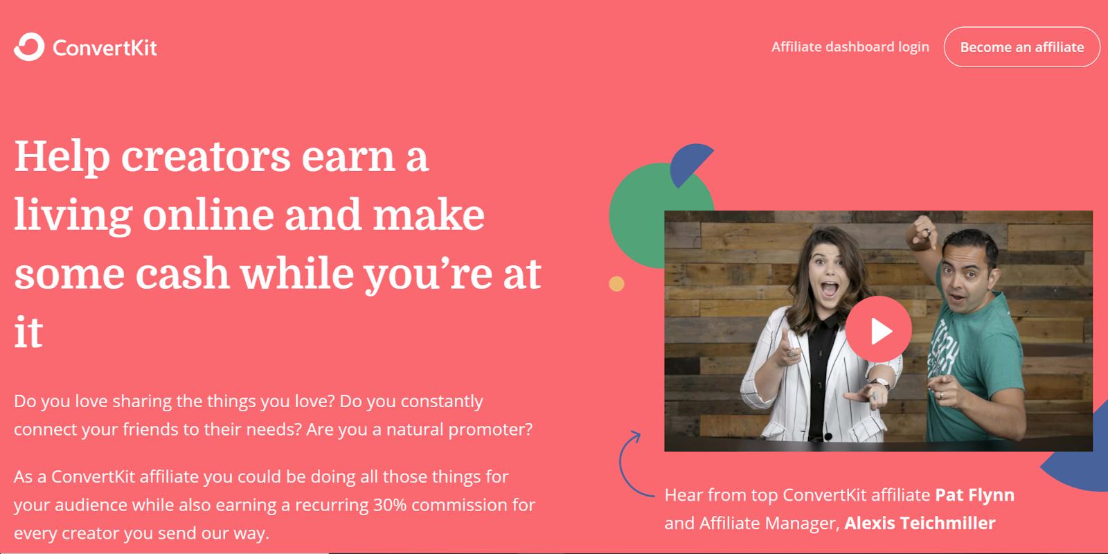 ConvertKit passive affiliate income program