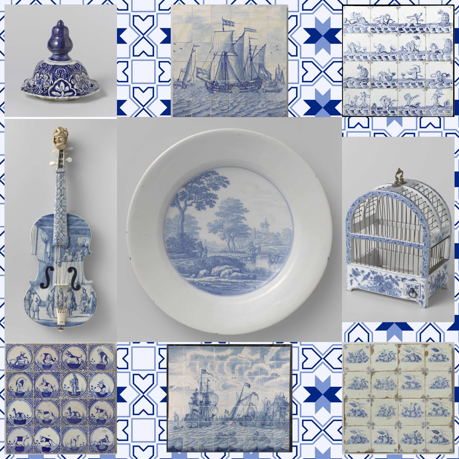 Several examples of Delft pottery in shades of blue and white, including a violin, tiles of fruit, a birdcage, and tiles depicting ships