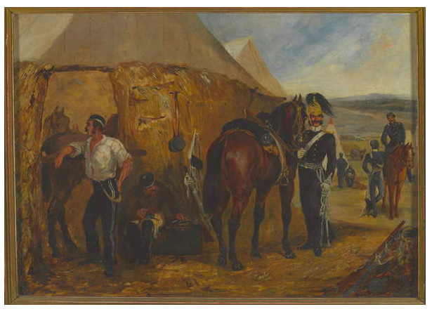 Image of The 6th Dragoon Guards at Chobham Camp, 14 June - 25 August 1853 (oil on paper), Alken, Samuel Henry (Henry Jnr) (1810 - 94) © National Army Museum / Bridgeman Images
