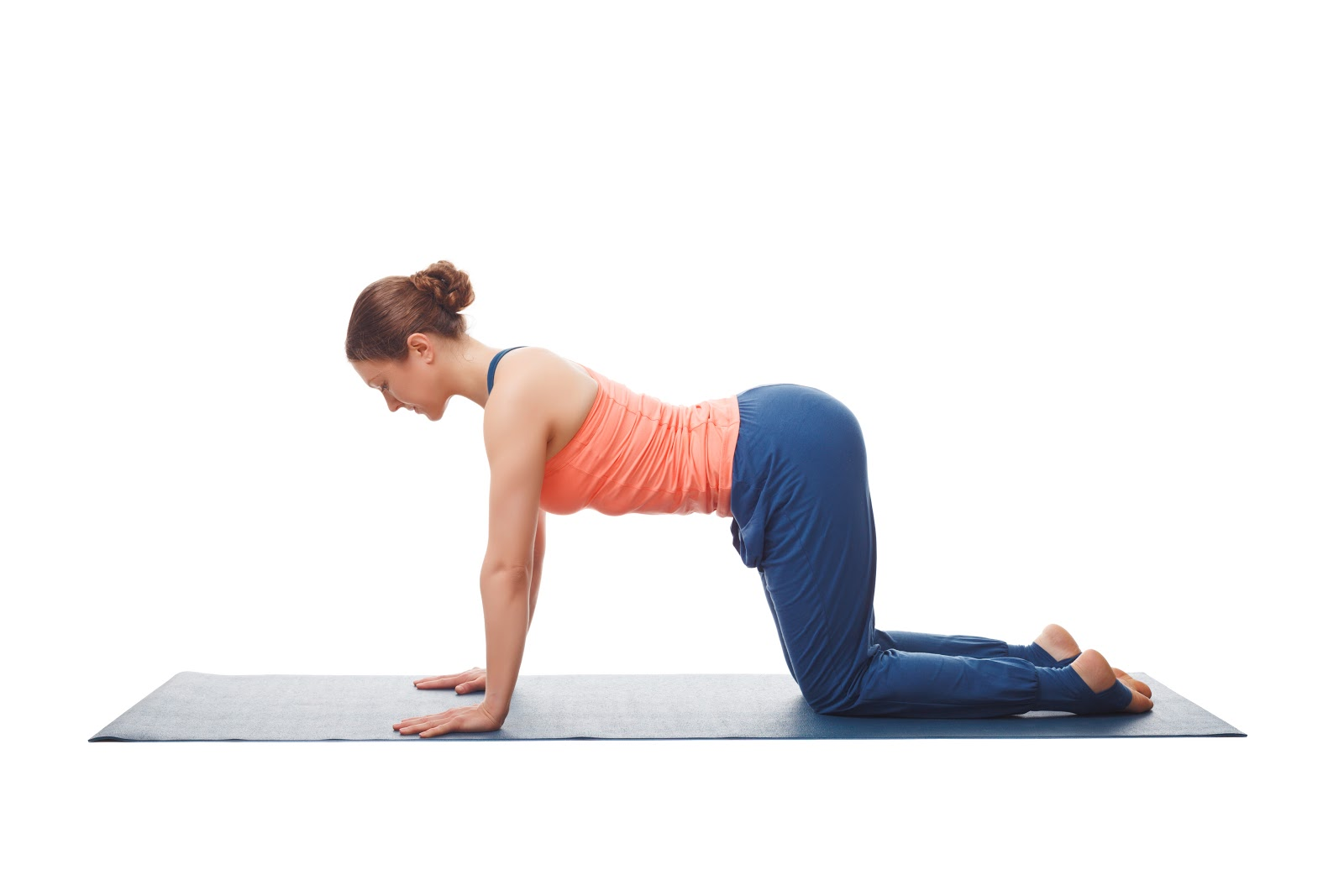 The cow pose is an easy, gentle way to warm up the spine.