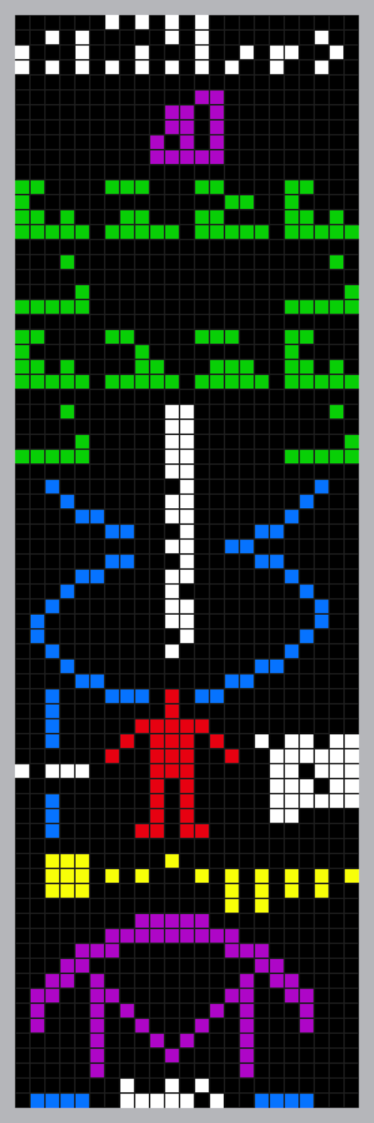 A pictoral representation of the Arecibo message, containing binary numbers, chemical formulas, a DNA strand, a human figure, representation of the solar system and image of the telescope.