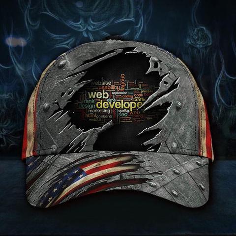 Web Developer 3D Hat American Flag Dad Hat Vintage Cap Gift For Men Father's Day Gift