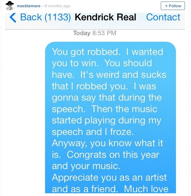 Kendrick Lamar Was Not Down With Macklemore Posting Their Grammy Text  Conversation :: Hip-Hop Lately