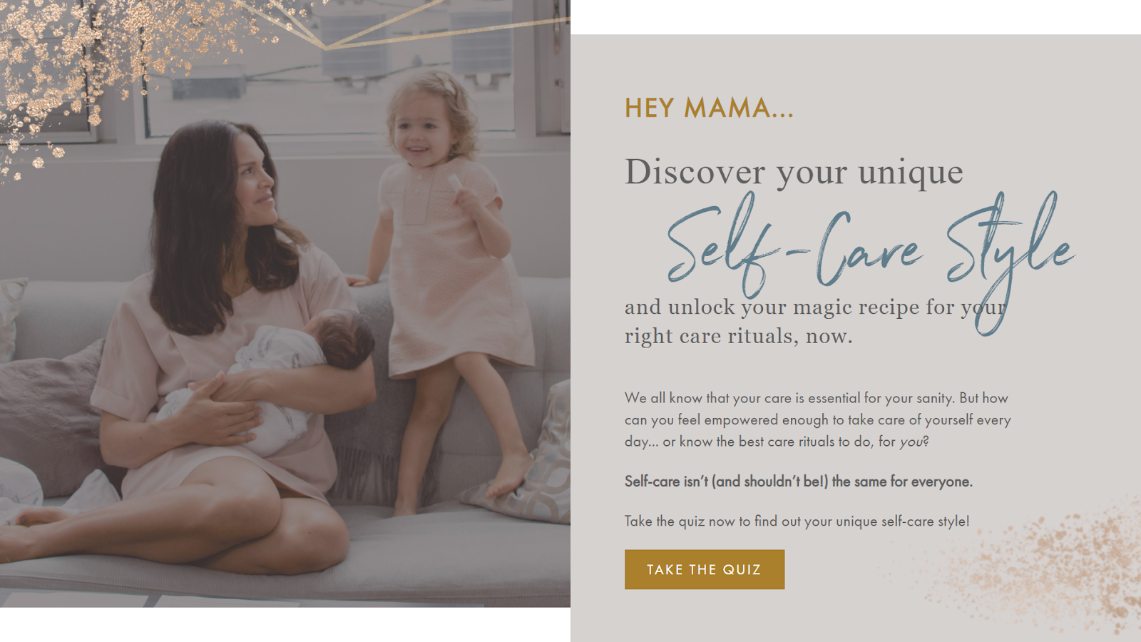 self-care style quiz landing page