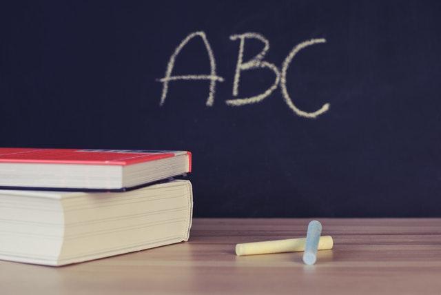 Blackboard with A B C written in chalk