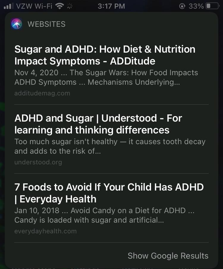 Screenshot of Safari SERP results on mobile for the sugar query.