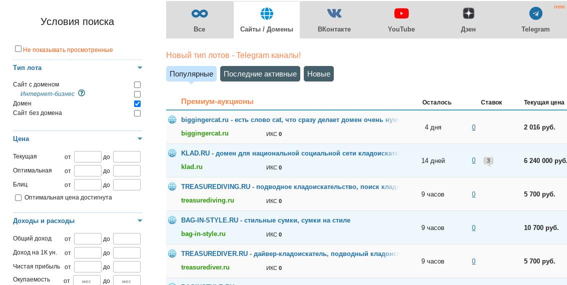 Покупка доменов дропов через онлайн аукционы. Принтскрин
