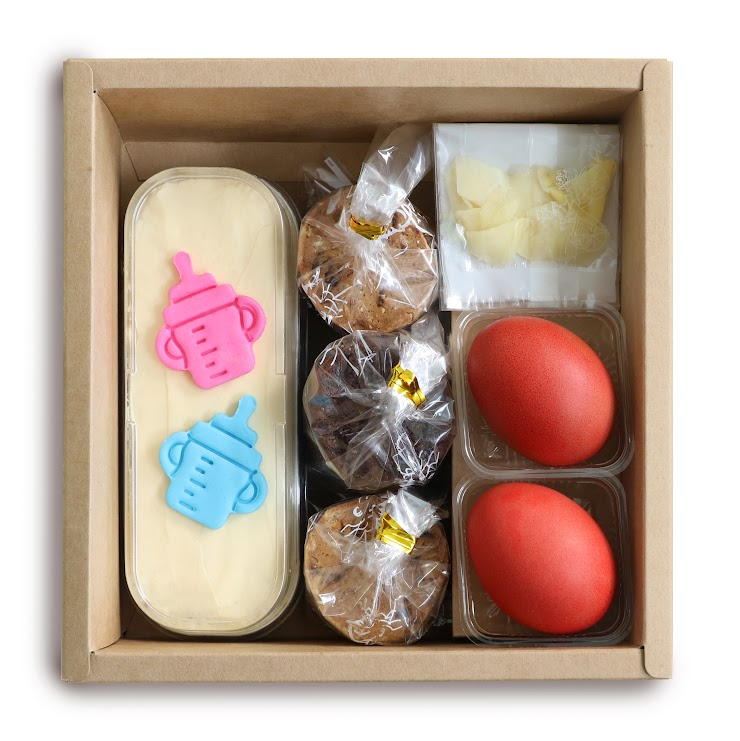 Butter Cake Loaf x 1 Red Egg x 2 Pickled Ginger x 1 Handmade Cookies (5 pcs/packet) x 3  (Choice of Cookies:- Pumpkin & Almond Cookies, Longan Cookies, Salted Chocolate, Lemon Sable)