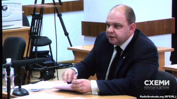 Суддя Дмитро Гаращенко під час співбесіди в рамках переатестації