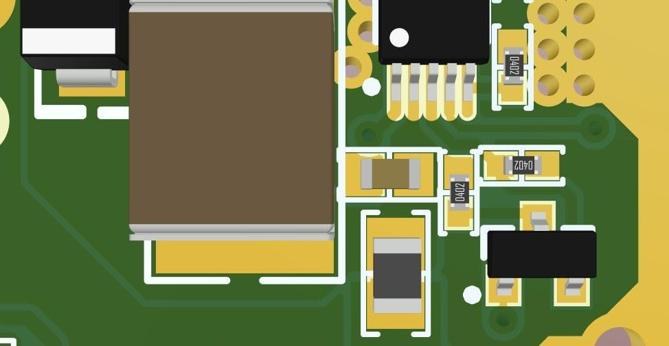 Altium Designer 3D view of board for a 65W single IC LED Driver for PDN Analyzer simulation