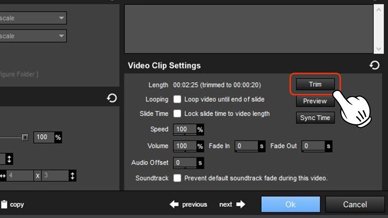 Nhấn vào Trim trong Video Clip Setting