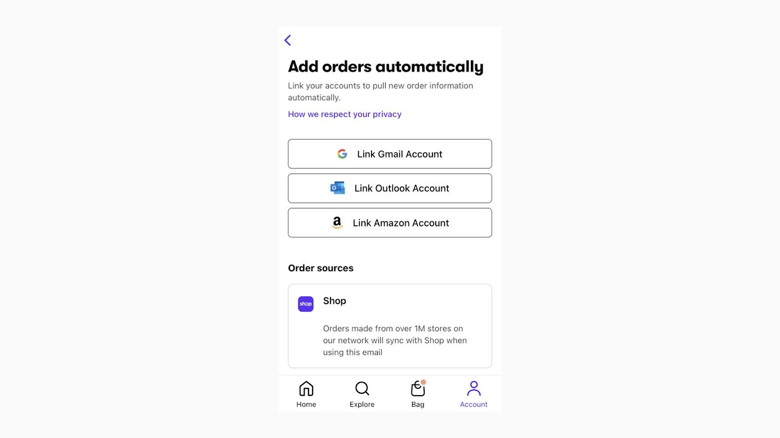 メールアドレスは「Account > Add orders automatically」から追加することができます。