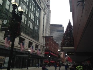 Holiday decorations in Boston