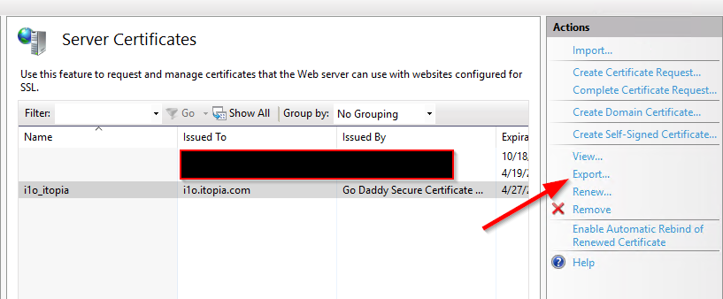 SSL request and PFX export guide | itopia Help Center