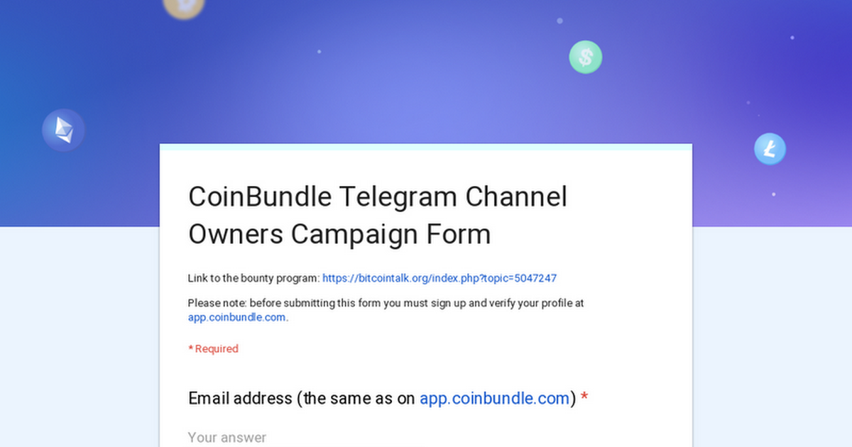 CoinBundle Telegram Channel Owners Campaign Form