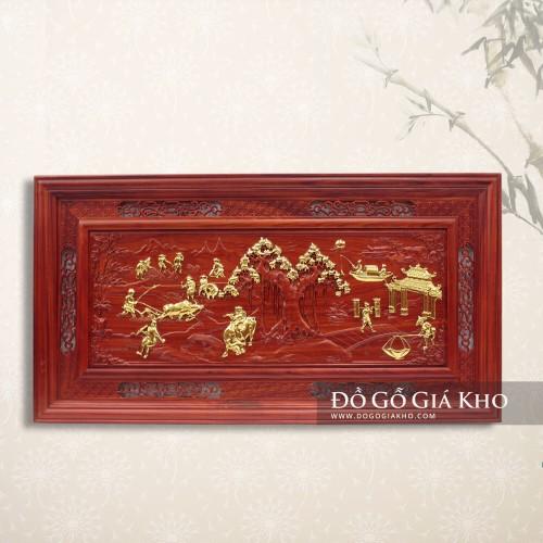 Tranh gỗ hương mạ vàng bức họa đồng quê - T006