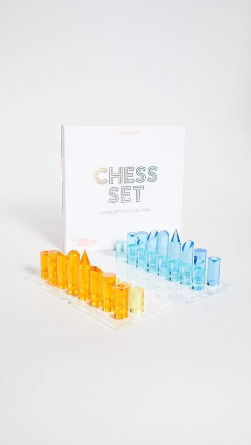 Sunny Life Clear Lucite Blue Yellow Orange Chess Set