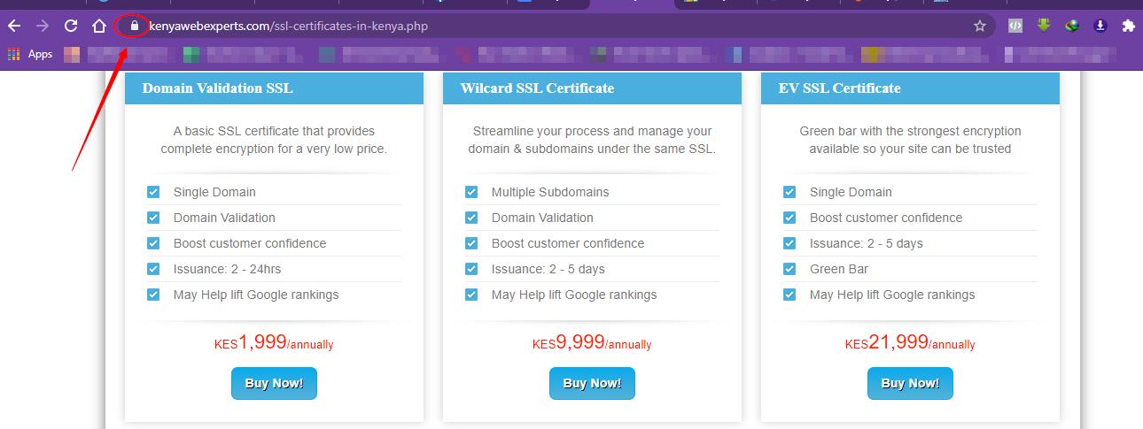 Kenya Website experts ssl prices