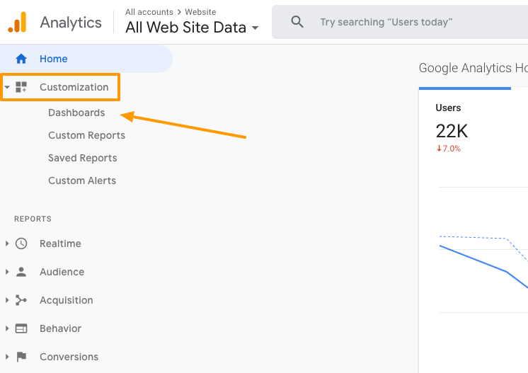 google-analytics-dashboard-menu