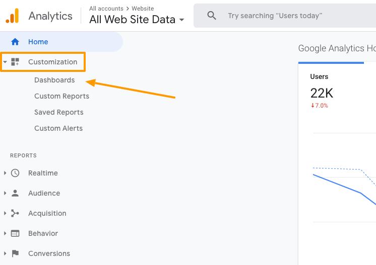google-analytics-dashboard-menu