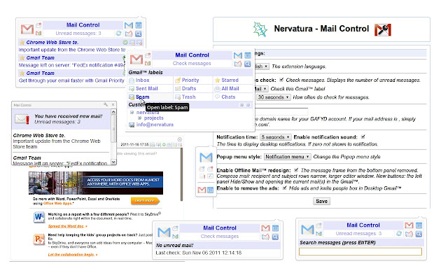 Mail Control chrome extension