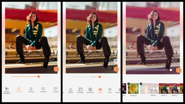 Tutorial de edição de uma foto de uma mulher sentada em uma arquibancada usando as ferramentas do AirBrush