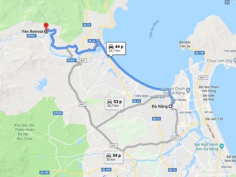 bản đồ đến Yên Retreat