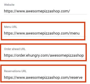 google my business for restaurants urls