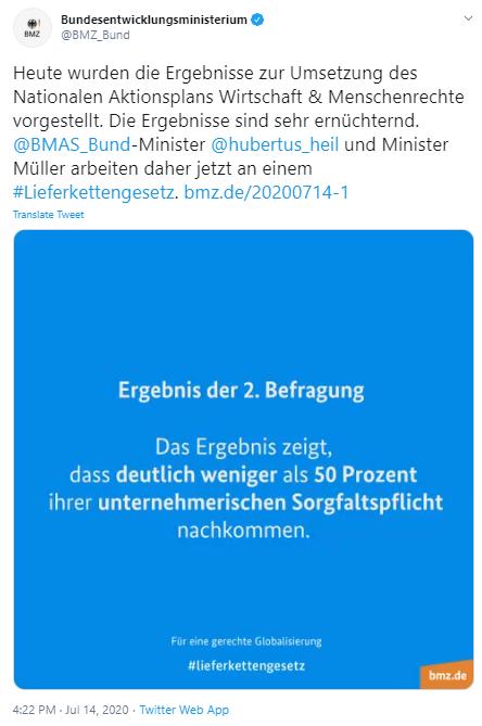 Quelle: Twitter @BMZ_Bund https://twitter.com/BMZ_Bund/status/1283044225169358848