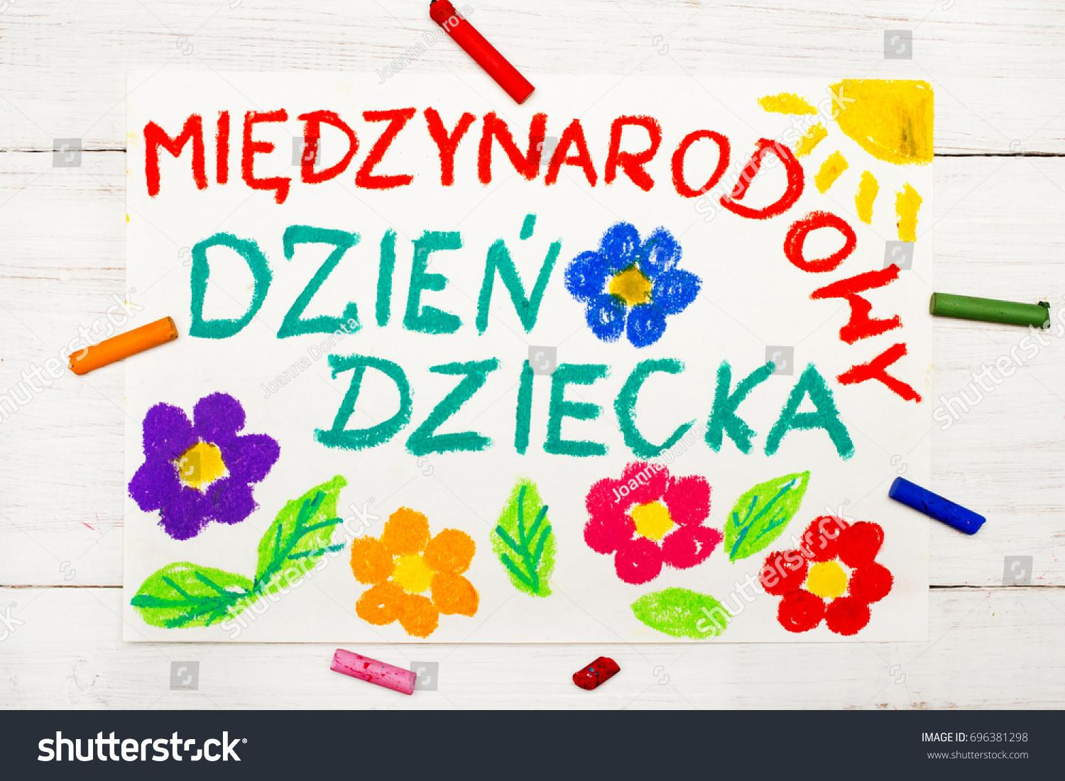 Colorful drawing: Children's day card with Polish words Children's day